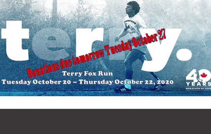 Terry Fox donations due